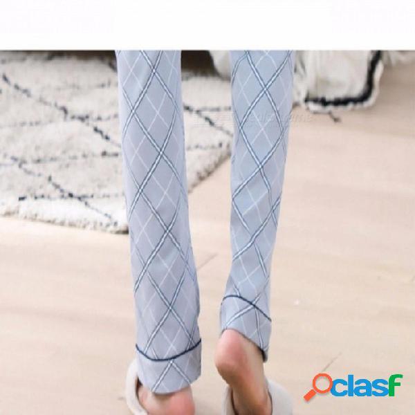 2018 pijamas de primavera y verano para hombres de algodón de manga corta ropa de dormir pijamas delgados pantalones azul cielo / l
