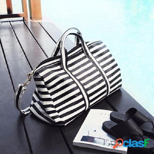 Bolsas de viaje de las mujeres de las mujeres a rayas bolso de viaje hombro bolsa portátil bolsas de fin de semana bolsa de lona impermeable de las mujeres negro