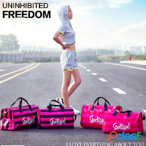 Bolso de deporte de rayas de moda al aire libre gimnasio bolsa de deporte bolso de viaje hombro hombro con espacio para zapatos rosa