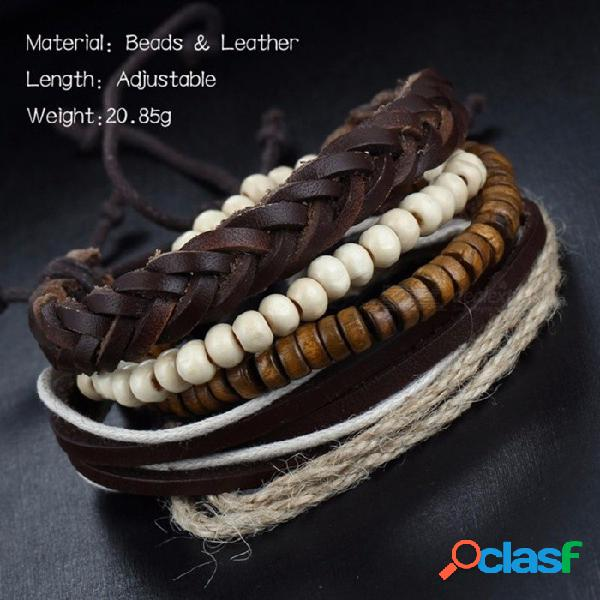 Cuentas de madera de cera de cuerda de cáñamo pulsera hombres pulsera de cuero marrón de múltiples capas pulseras de luz marrón claro