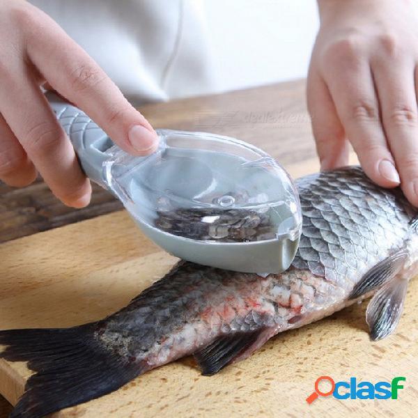 Dispositivo de limpieza de pescado de 1 pieza de plástico que raspa el dispositivo de escalas, herramienta de cocina de cocina casera
