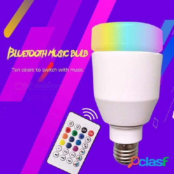 Smart inalámbrico bluetooth altavoces bulbo música jugando led bombilla luces lámpara con 10 colores de control remoto blanco / e27