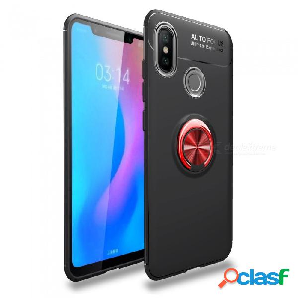Zhaoyao funda protectora de tpu suave con soporte de anillo para teléfono móvil xiaomi 7 - rojo + negro