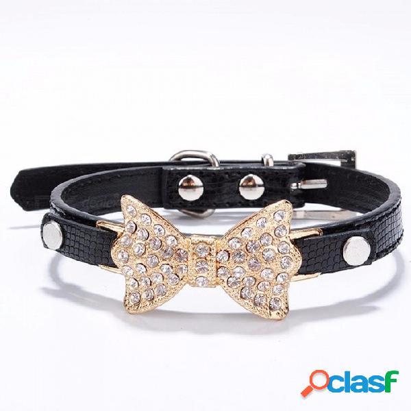 Arco rhinestone pu collares de perro suministros para mascotas diamante artificial bowknot correas de perro collar - negro