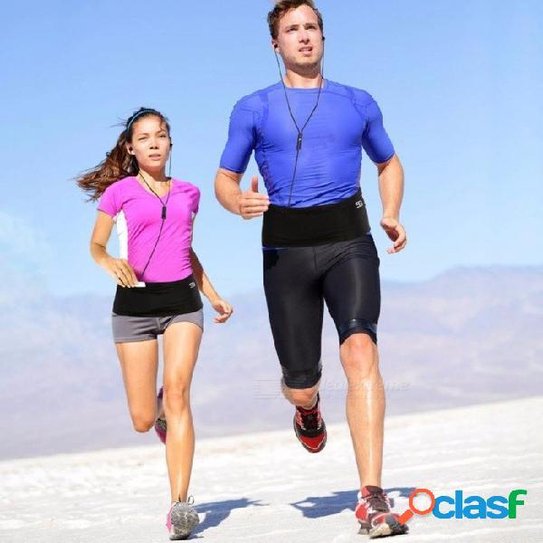 Bolsa de bolsa de cintura elástica para deportes al aire libre bolsa de cintura delgada y delgada para correr ciclismo fitness negro