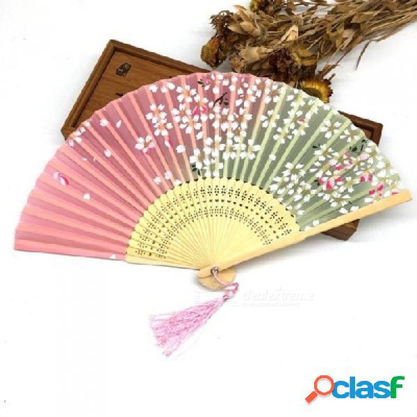 Moda chino japonés abanico plegable flor de cerezo de sakura bolsillo ventilador de la mano del arte del verano regalo de artesanía 1 unids azul