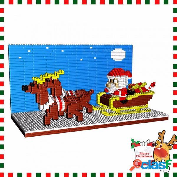 Navidad santa claus con renos pequeños bloques de construcción de bricolaje ensamblados rompecabezas juguetes educativos para niños cielo azul