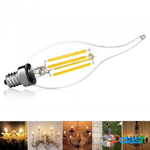Youoklight led bombilla de filamento de candelabros, e14 base 4w cob led de filamento llama de la vela de la vela de la vendimia, 2700k blanco cálido