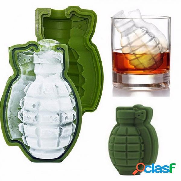 3d forma de granada molde de cubo de hielo fabricante de helados bebidas partido bandejas de silicona moldes barra de cocina herramienta gran regalo para hombre verde