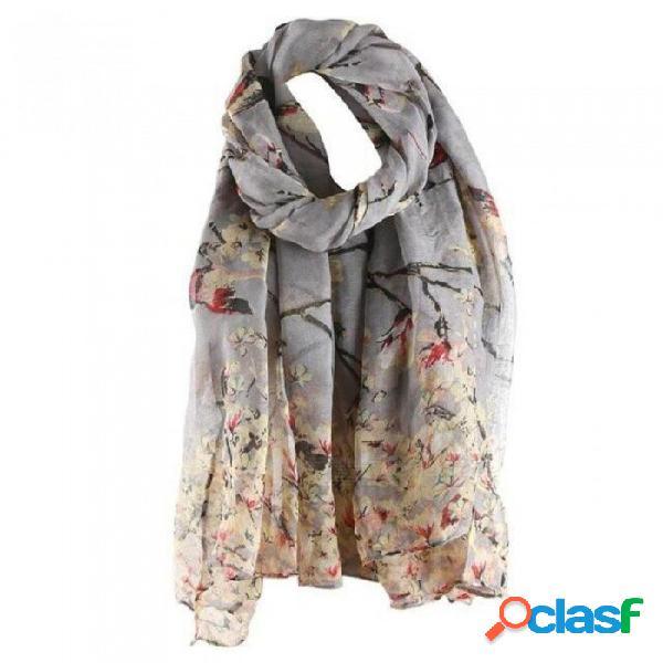 Algodón floral pájaro impreso elegante bufanda de las mujeres bufanda larga abrigo cálido chal moda femenina diseño encantador un tamaño / negro