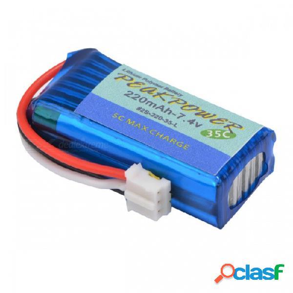 Batería ultraligera del lipolymer de los aviones del rc del peso rc de la batería del lipo de 7.4v 2s 220mah 35c