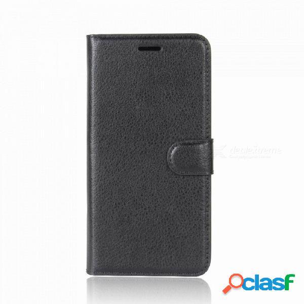 Funda protectora con tapa protectora de piel sintética de lichi para iphone 7, 8, billetera con soporte,