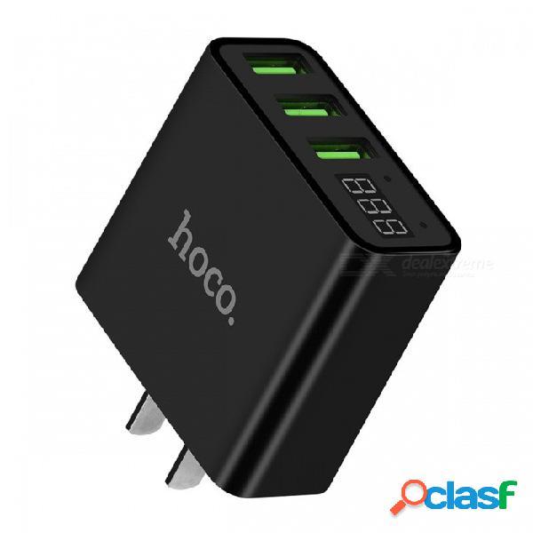 Hoco 5v 3a cargador de pared usb de carga rápida, adaptador de corriente con pantalla led para teléfono móvil samsung iphone