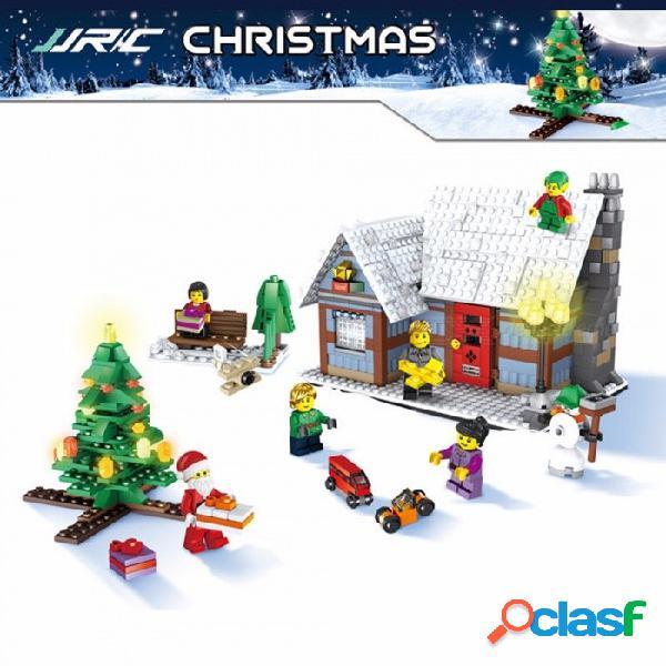 Jjrc 1002 aldea navideña pequeños bloques de construcción de bricolaje montado juguete juguetes educativos para niños multicolor