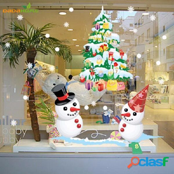 Navidad ventana etiqueta de la pared decorativo muñeco de nieve árbol carismático para la tienda en casa tienda supermercado decoración
