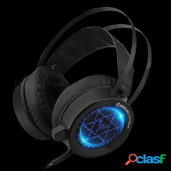 V1 juego auriculares con cable auriculares para juegos auriculares usb luz led para computadora pc portátil negro