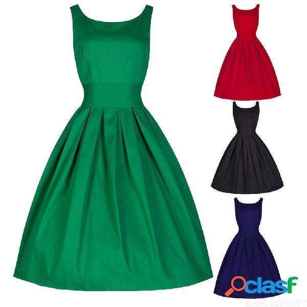 Vestido de verano vintage estilo hepburn sin mangas ama de casa plisada vestidos de fiesta para las mujeres