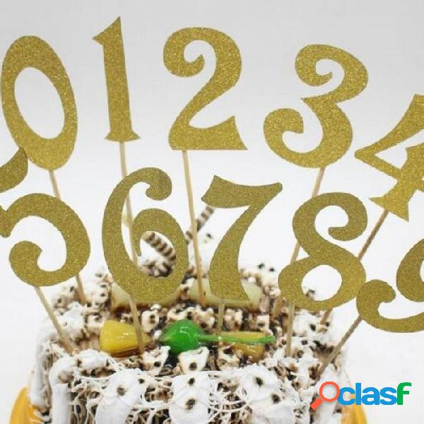 10 unids (0-9) números de glitter de oro plata torta personalizada topper kit boda cumpleaños magdalena decoraciones del partido rojo