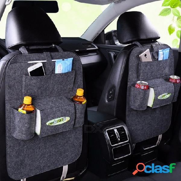 Auto asiento trasero organizador del bolso bolsa de soporte de fieltro cubiertas versátiles multi-bolsillo asiento colgando caja de lana fieltro contenedor de almacenamiento gris oscuro