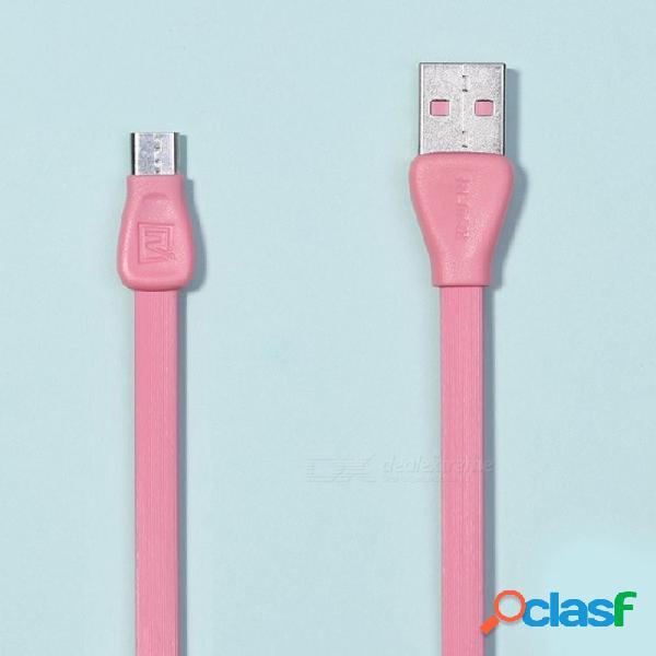 Cable de datos micro usb colorido de remax martin, cable de transferencia de datos de sincronización plana de carga de pvc para xiaomi / sony / samsung / htc 1 m / rosa