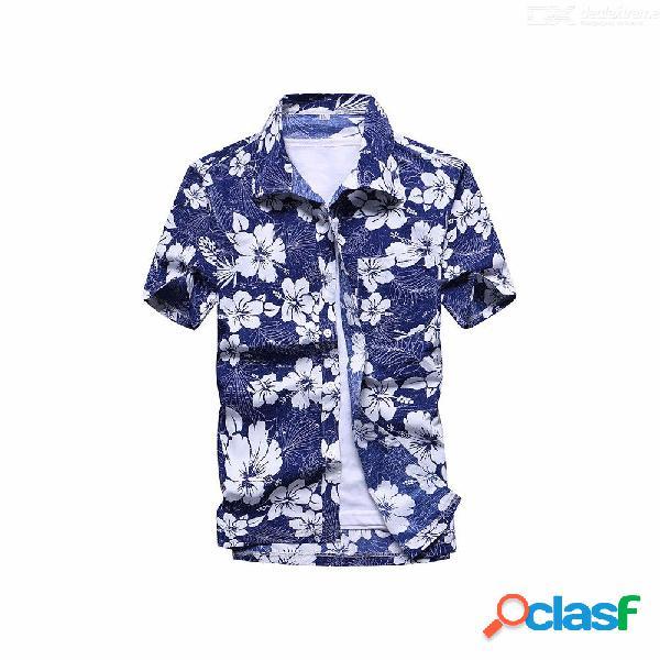 Camisa suelta con estampado de flores de moda, camisa casual casual de manga corta para hombres, tops de playa, ropa ropa