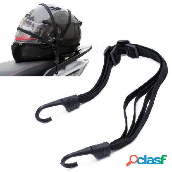 Correa de cuerda elástica retráctil de equipaje de motocicleta flexible con 2 ganchos con color negro para 1 pcs negro