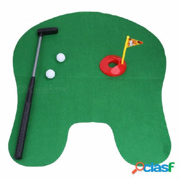 Juego de golf inodoro pottery putter juego de mini golf tocador golf putting green juego de novedad regalo de juguete para hombres y mujeres verde