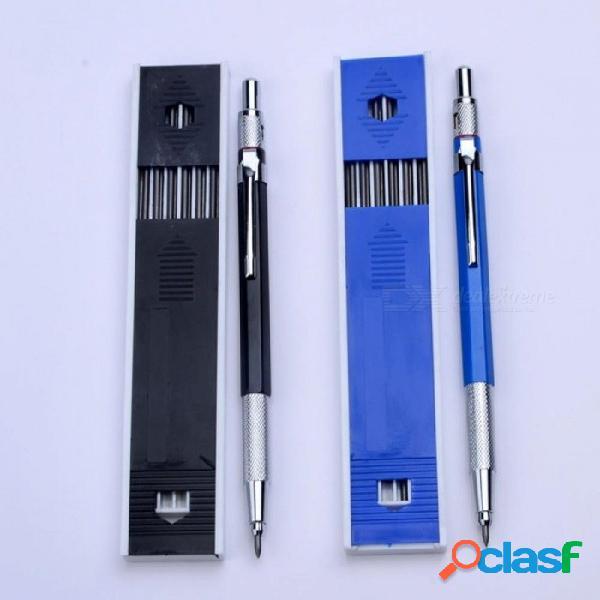 Lápices mecánicos de metal 2.0 mm 2b portaherramientas dibujo de lápiz de dibujo conjunto con 12 piezas lleva escritura de la escuela regalos papelería