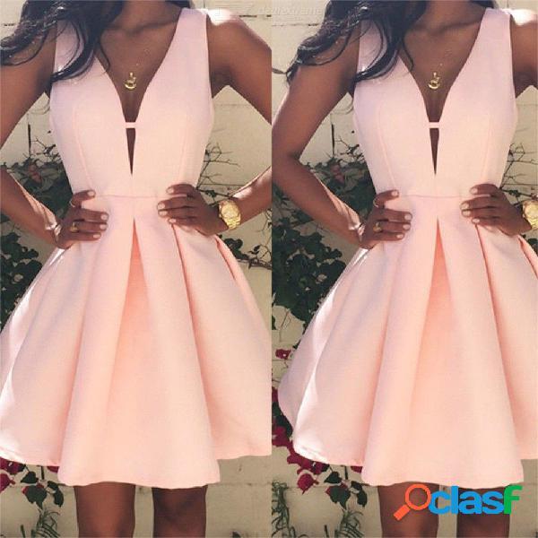Las mujeres atractivas visten los mini vestidos de fiesta sin mangas con cuello en v profundo para las mujeres - rosado