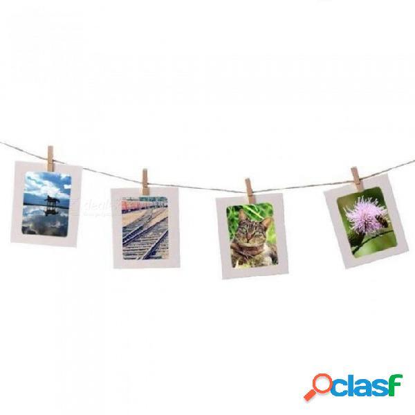 Marco de papel de combinación con clips y cuerda de 2m marco de fotos de pared de 3/4/5/6/7 pulgadas diy álbum de fotos colgantes decoración del hogar 10 piezas de 5 pulgadas / blanco