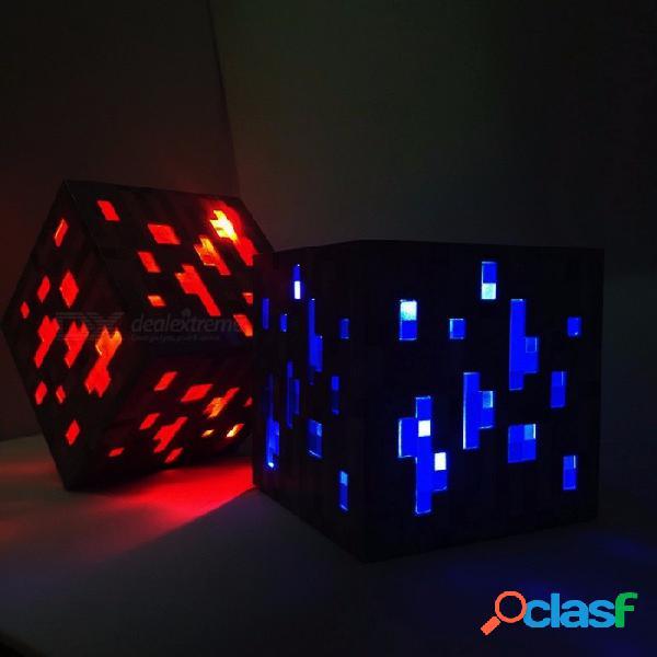 Nuevo minecraft ilumina el juguete led, redstone mineral de diamantes plaza de luz de noche led figura de juguete para niños regalos azul