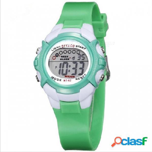 Reloj deportivo para niños a prueba de agua 62c 30m con luz led de colores, cronógrafo, indicador de fecha para niña de niños