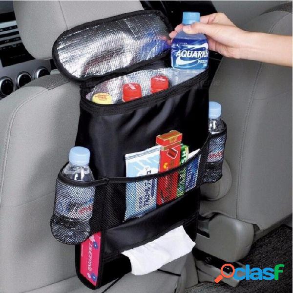 Auto automóvil asiento trasero preservación del calor organizador sostenedor mantener caliente multi-bolsillo almacenamiento de viaje bolsa colgante negro