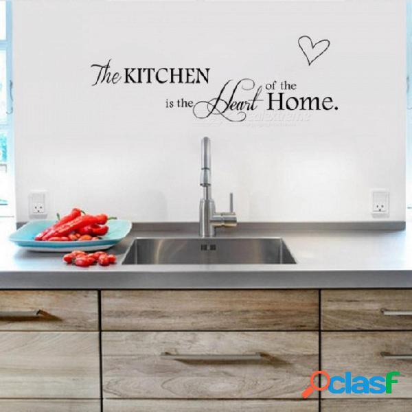 Carta patrón etiqueta de la pared de pvc extraíble decorar el hogar diy arte de la pared para la cocina el corazón de la casa negro