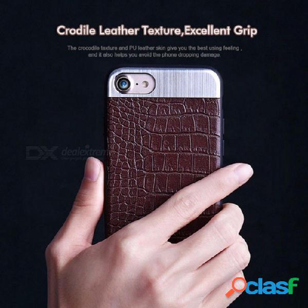 Fundas de teléfonos móviles fundas de piel inteligente accesorios de teléfono de cuero de cocodrilo de lujo para iphone 7/8