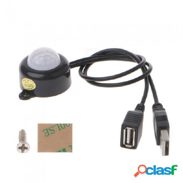 Interruptor del sensor fotosensible del control de detección de movimiento por infrarrojos del cuerpo de pir usb 5a para la tira de luz led, conector de cc