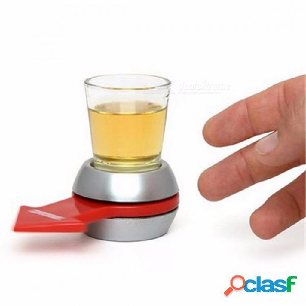 Juego de beber girar el vaso de cristal partido de la diversión juguete de la placa giratoria con la barra de la rueda giratoria juego partido del partido prop plata