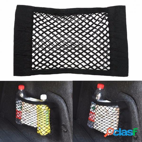 Organizador del asiento del coche bolsa de malla de almacenamiento del asiento trasero bolsa fuerte cinta mágica portaequipajes organizador del maletero del coche 40 cm x 25 cm negro