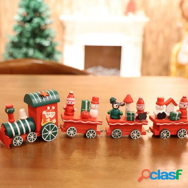 Tren de navidad decoración natale de madera santa claus oso navidad regalo de navidad regalo navidad año nuevo adornos para el hogar rojo