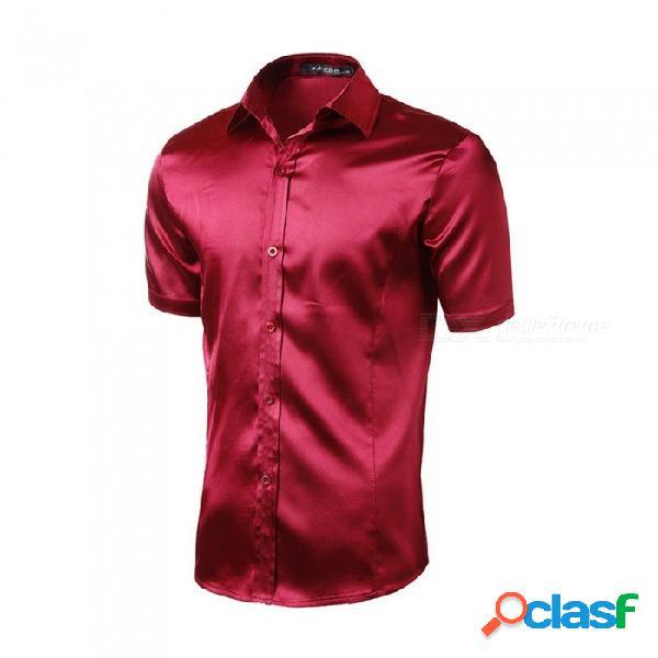 Verano de manga corta de imitación de seda casual color sólido mens camiseta moda brillante turn-down cuello slim fit camisa negro / m