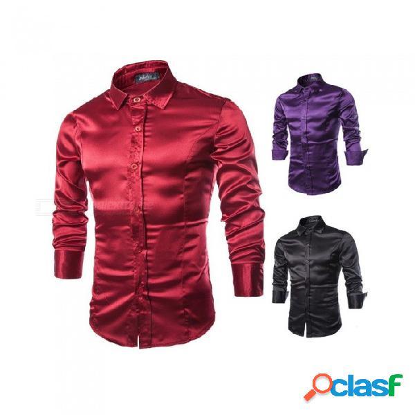 Versión coreana de la camisa de manga larga de poliéster brillante, camisa de cuello vuelto de moda para hombre negro / m