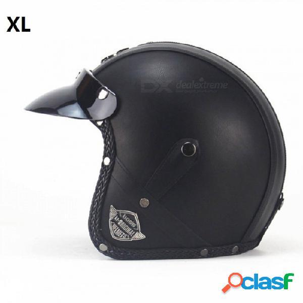 Zhaoyao estilo retro pu cuero casco harley, 3/4 moto chopper casco de bicicleta - vs clásico negro (xl)