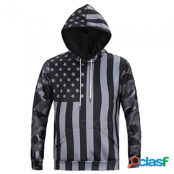 Ctsmart l6019 sudadera con capucha con capucha y capucha con capucha estilo americano de los hombres de estados unidos - gris (3xl)