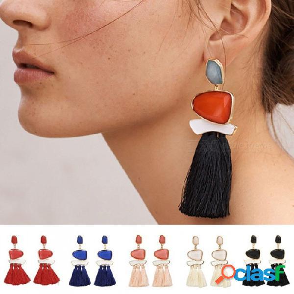 Estilo retro resina gema decorada borla cuelga los pendientes para las mujeres, oreja decoración stud pendientes joyería