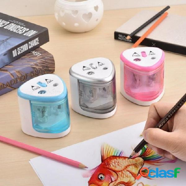 Sacapuntas de lápiz eléctricos use la batería con dos agujeros sacapuntas de lápiz eléctricos para lápices de 6-8mm y 9-12mm