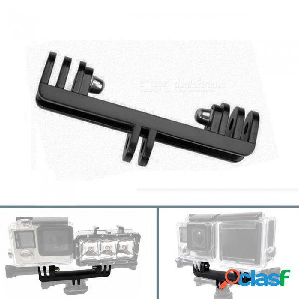 Xsuni deportes cámara doble soporte puente, plug-in monopie trípode led luz para gopro, xiaoyi, sjcam - negro