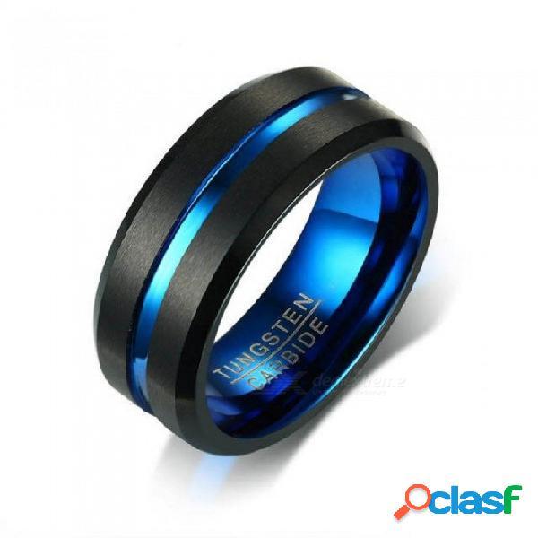 Anillo de carburo de tungsteno negro para hombres mujeres bandas de boda acabado mate anillos de ranura de fibra de carbono azul joyería 8