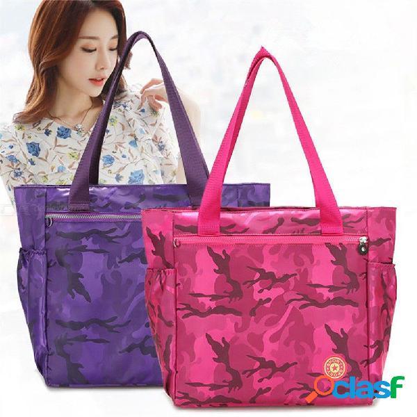 Bolsos de camuflaje impermeables, bolsas de compras de viaje de gran capacidad de nylon para mujeres