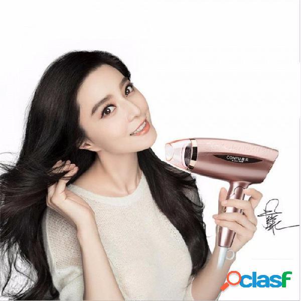 Confu 3115 máquina secadora de pelo eléctrica para el hogar, gran potencia 1800w 3 modos de aire caliente / frío plegable secador de pelo de oro