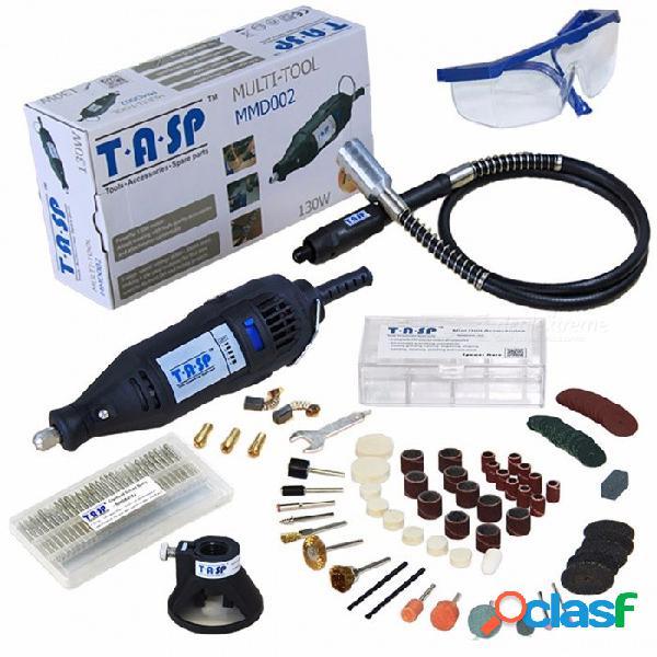 Tasp 220v 130w eléctrico mini taladro grabador rotativo conjunto de herramientas con eje flexible y 140 piezas accesorios herramientas eléctricas ue
